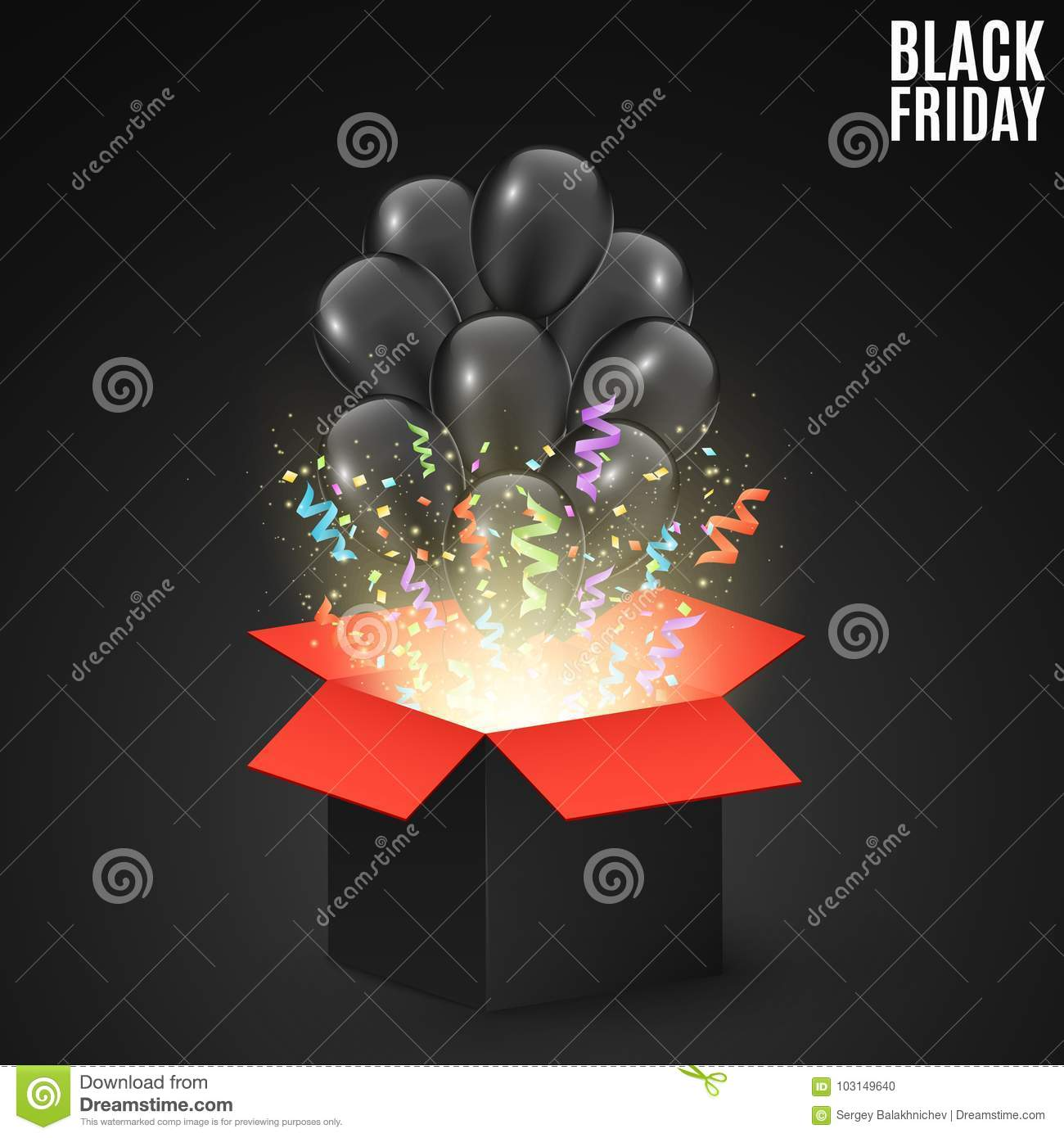 Black red gift box on a dark background with black balloons. Background for sale on a Black Friday. Colorful confetti and ribbons.