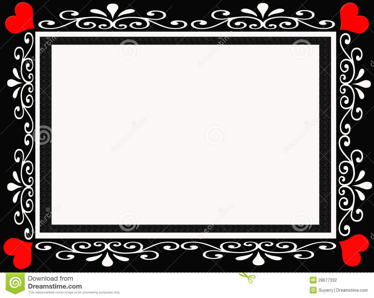 ef0588fdf38 Black And Red Heart Designer Frame Border Stock Photo - Illustration ...