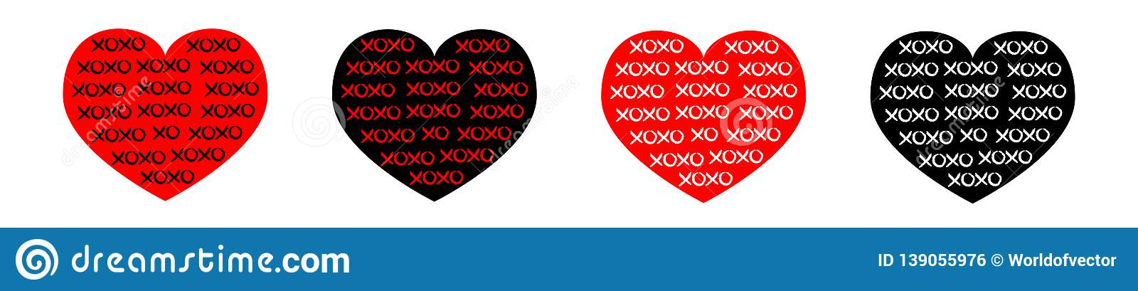 Black, red heart line icon set. Xoxo phrase sketch saying. Hugs and kisses. Happy Valentines day sign symbol. Love greeting card.