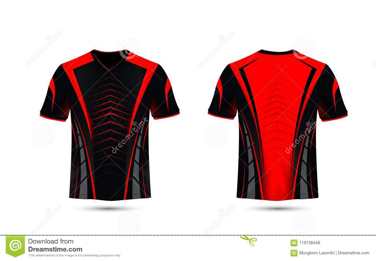Black and red layout e-sport t-shirt design template. Illustration vector. 4e27104eef16b