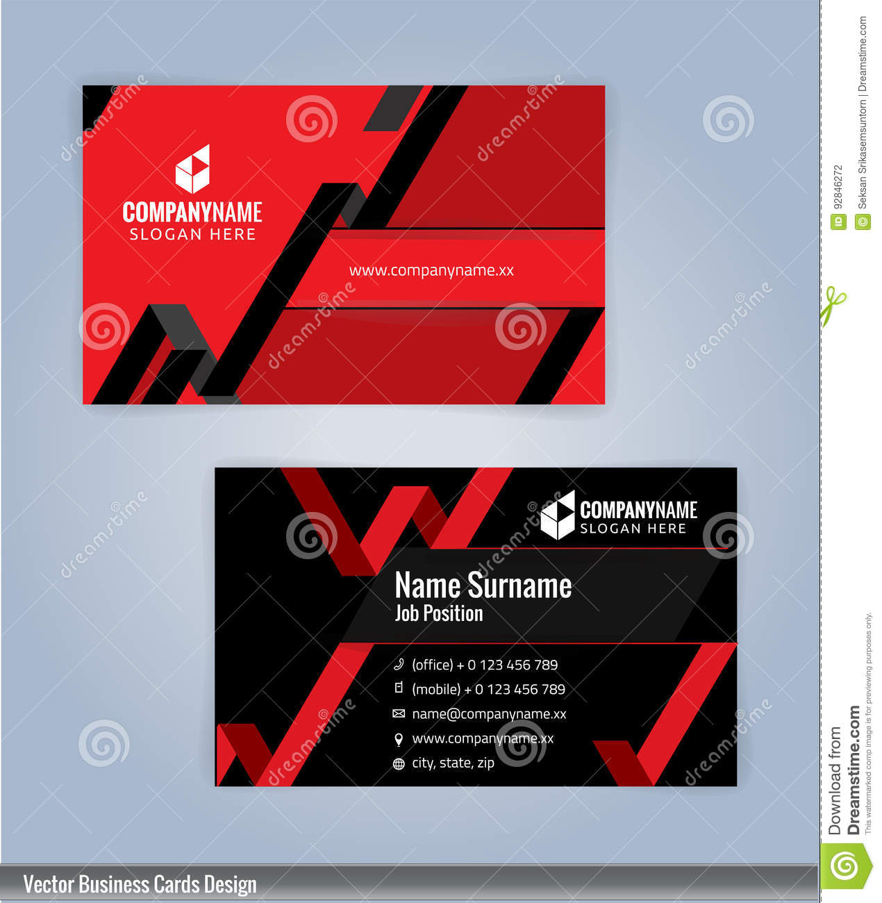 Black And Red Modern Creative And Clean Business Card Design