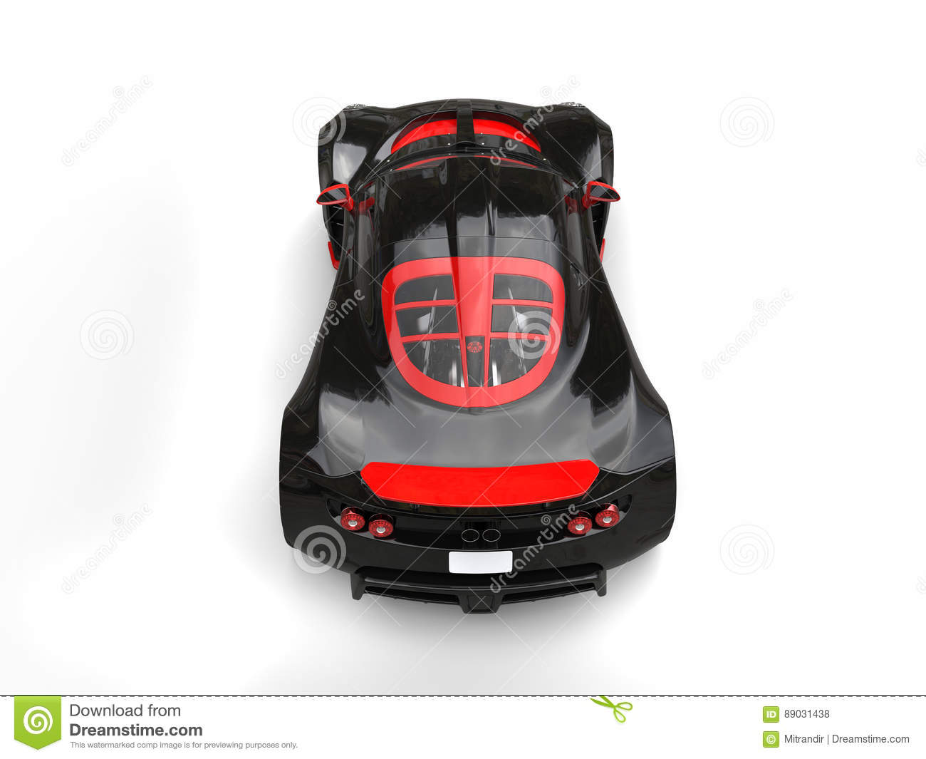 Black And Red Modern Sports Car Top View Stock Illustration