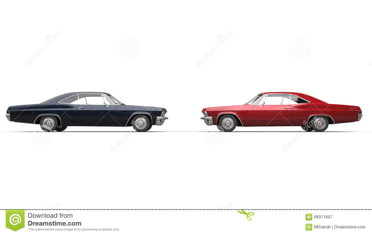 Black And Red Muscle Cars Side View Stock Photo Image