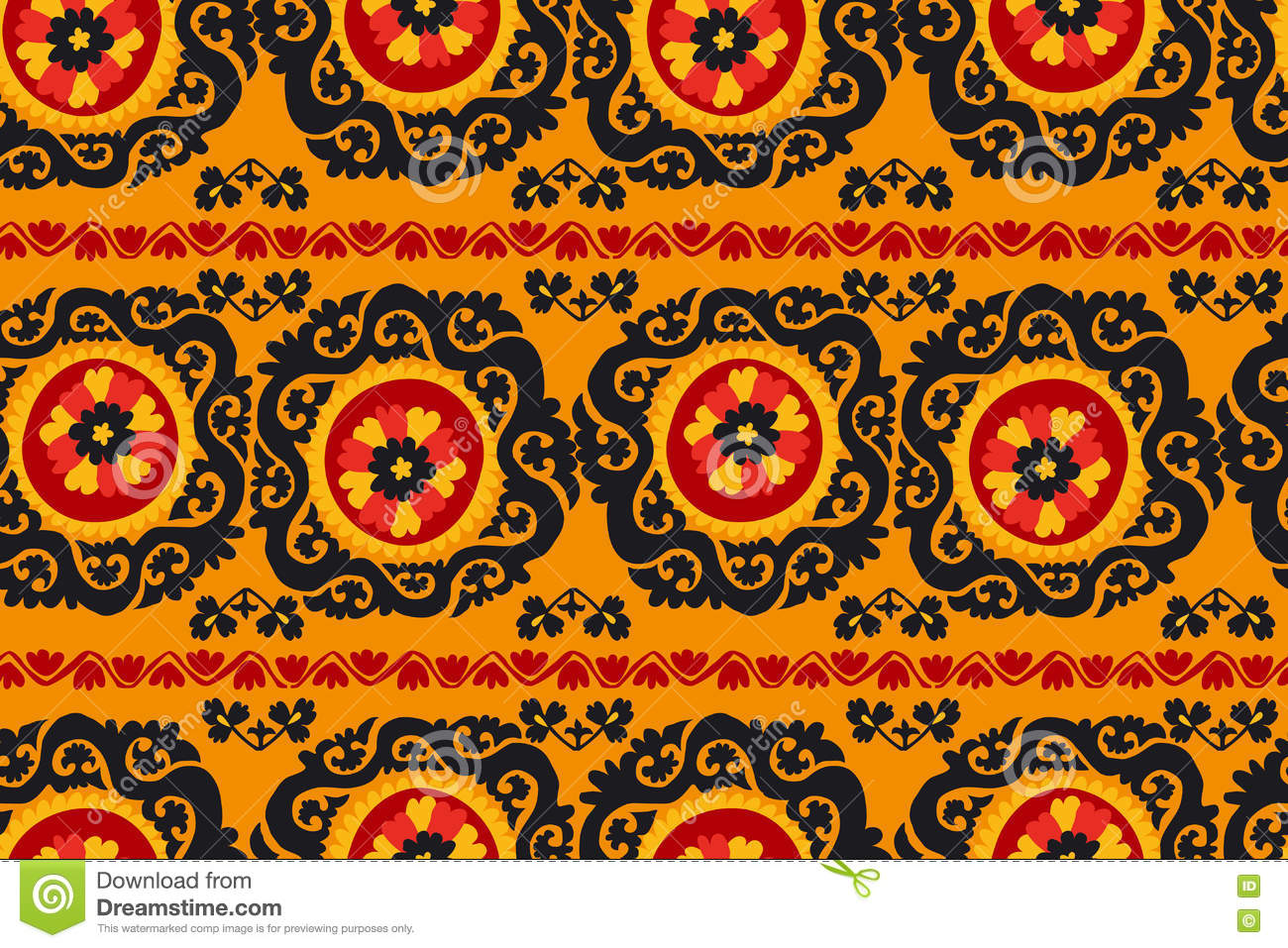 Black Red And Orange Traditional Asian Carpet Stock Vector