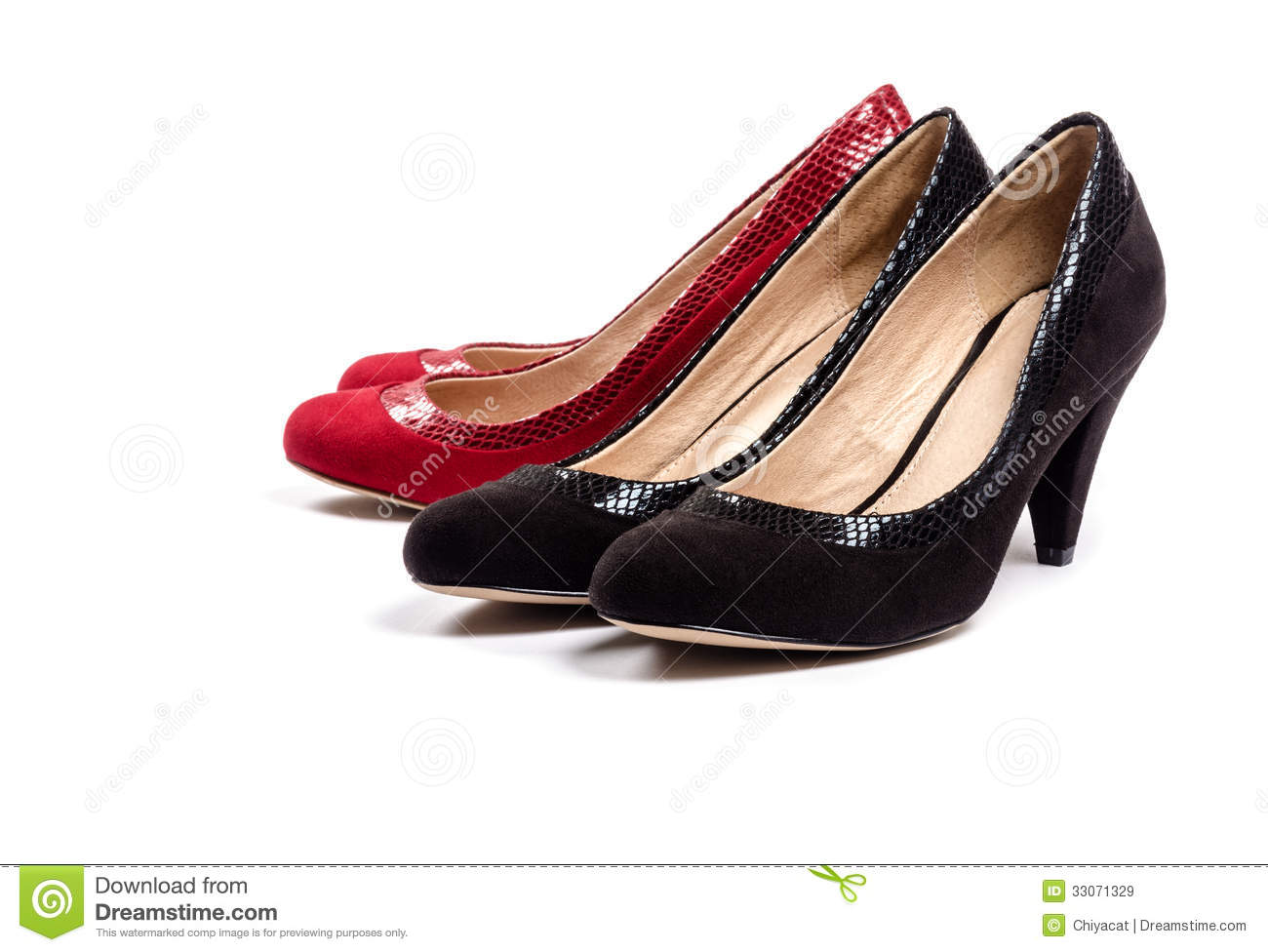 133f5705971 Black And Red Suede Pumps On White  3 Stock Image - Image of shoes ...
