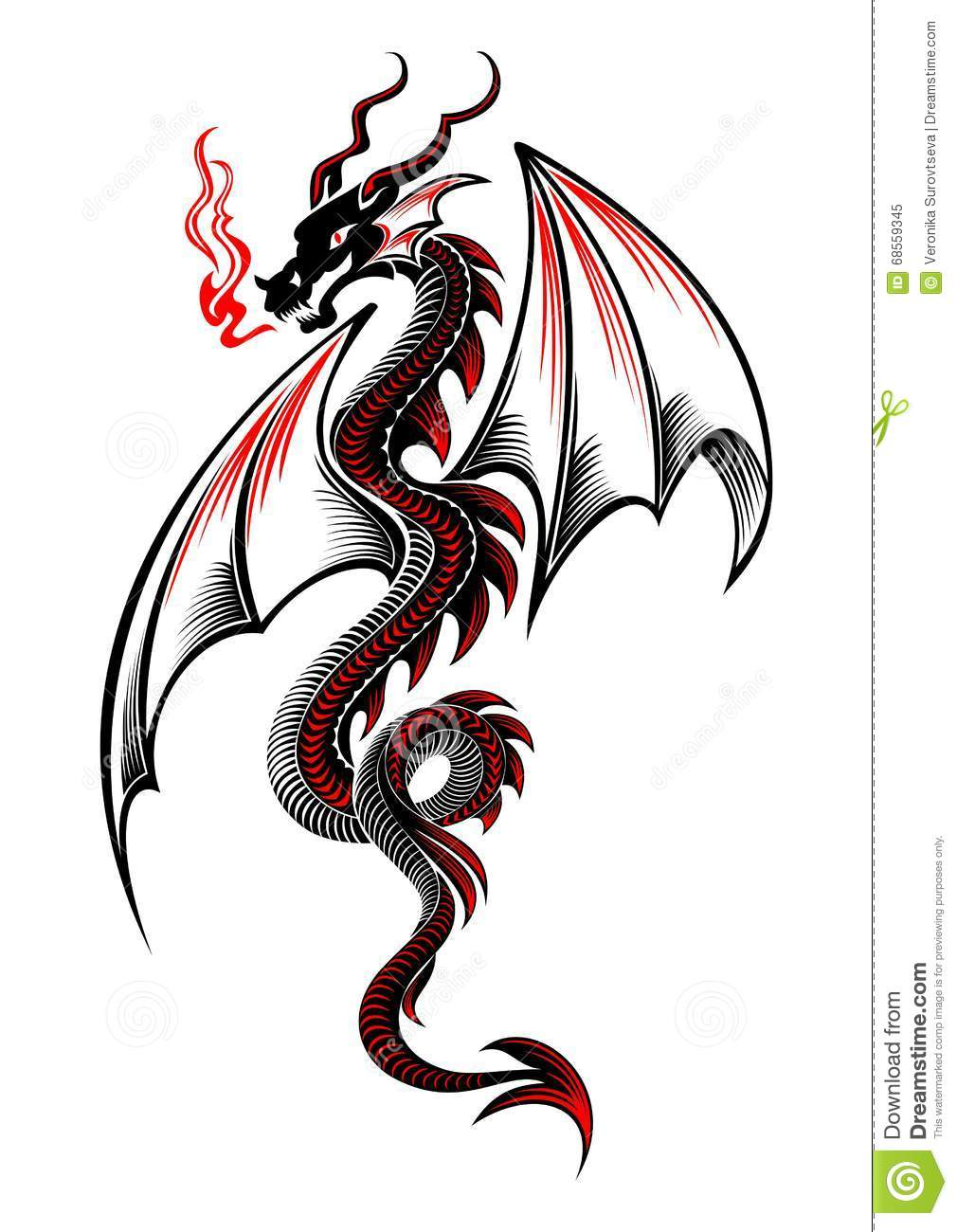 black and red tribal dragon tattoo stock illustration image 68559345. Black Bedroom Furniture Sets. Home Design Ideas