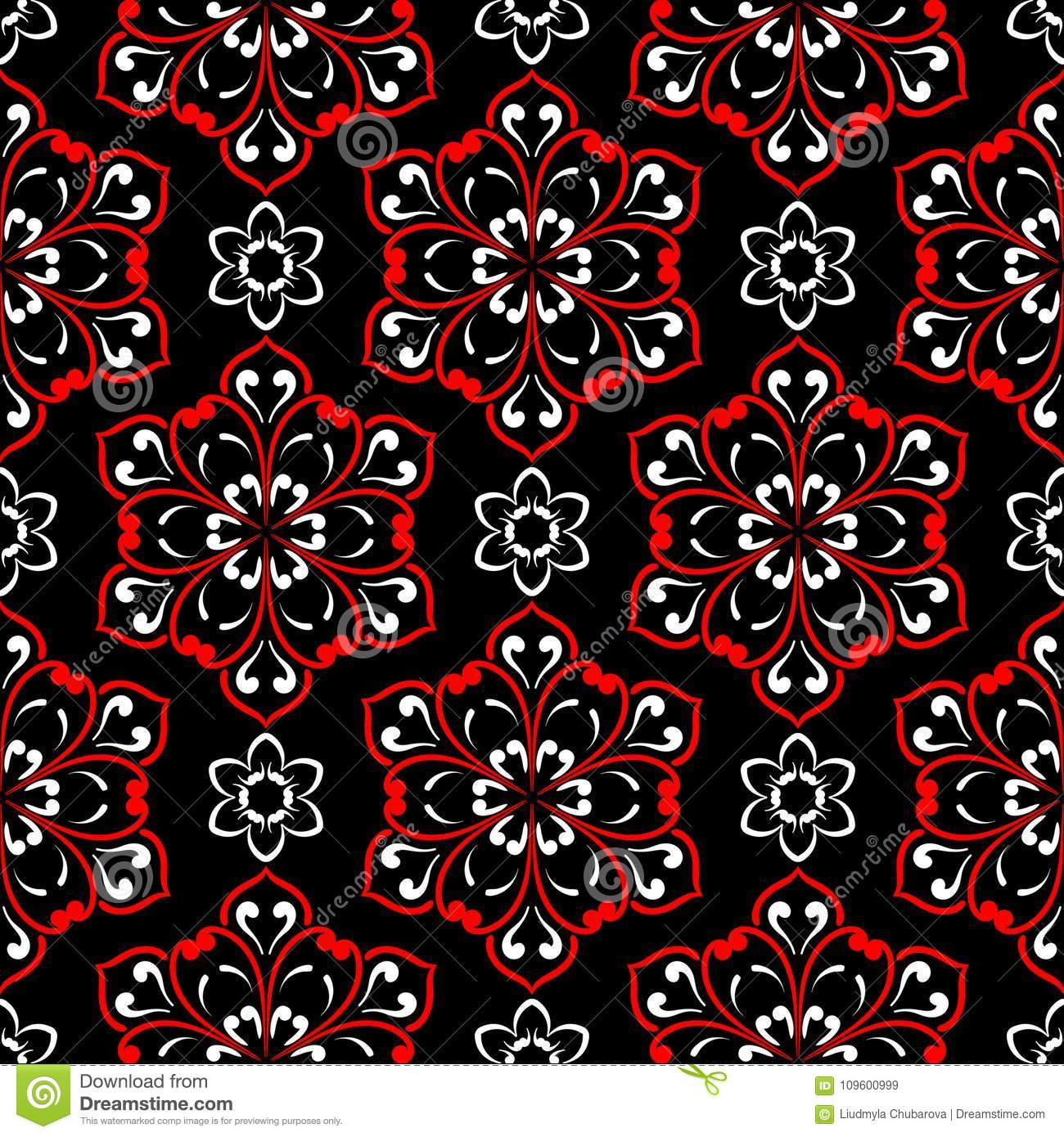 black red and white floral seamless pattern wallpaper background stock vector illustration of beautiful drawn 109600999 https www dreamstime com black red white floral seamless pattern wallpaper textile fabrics background image109600999