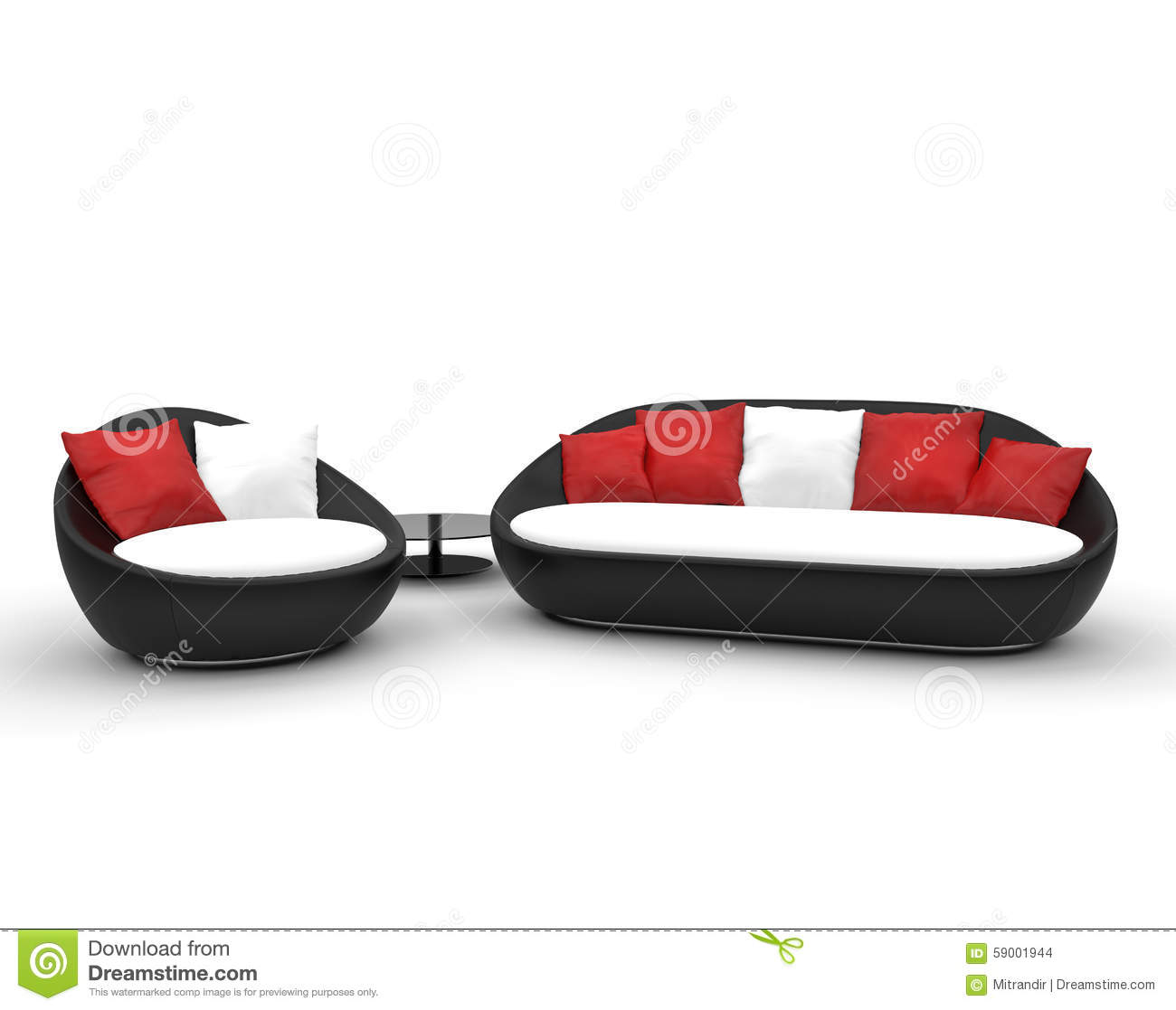 Black Red And White Sofas Modern Green House