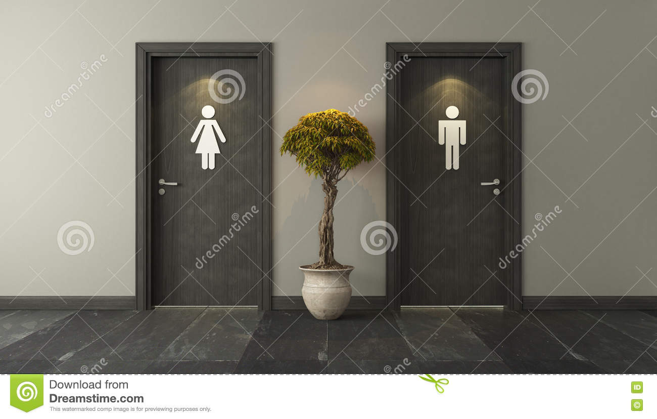 Black Restroom Doors For Male And Female Genders With Spot Light ...