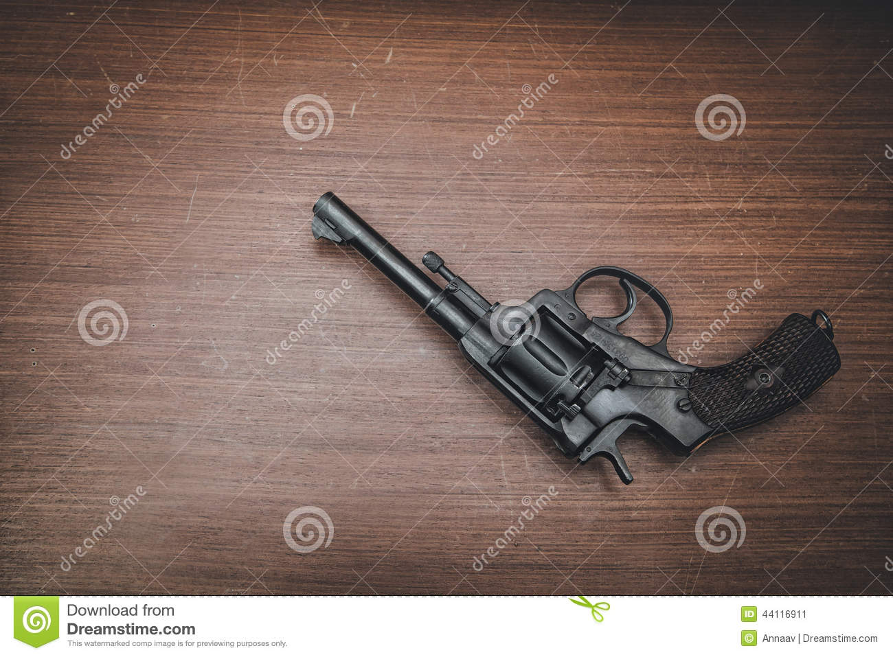 Black Revolver On The Table Stock Photo - Image: 44116911