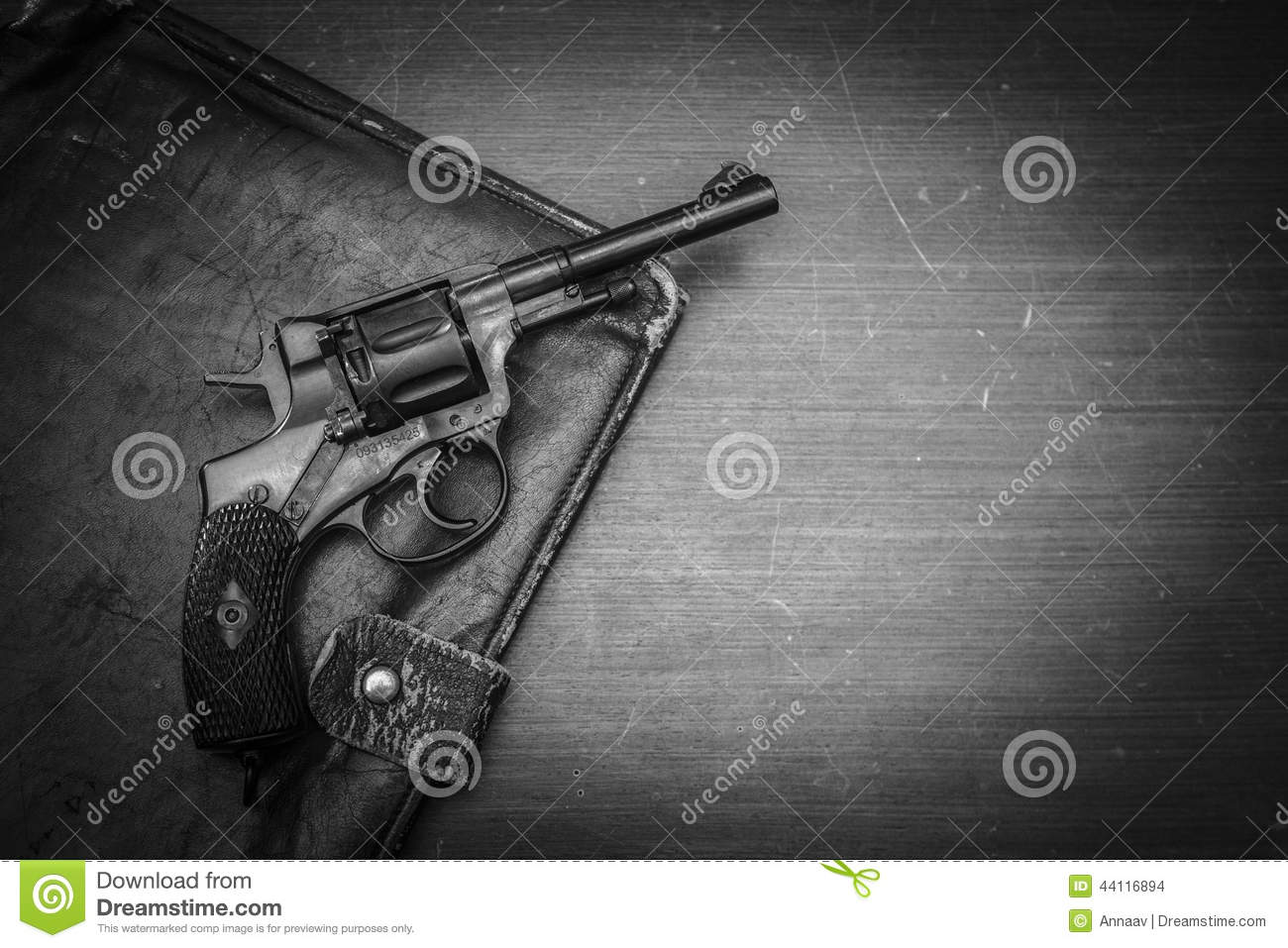 Black Revolver On A Wooden Table Stock Photo - Image: 44116894