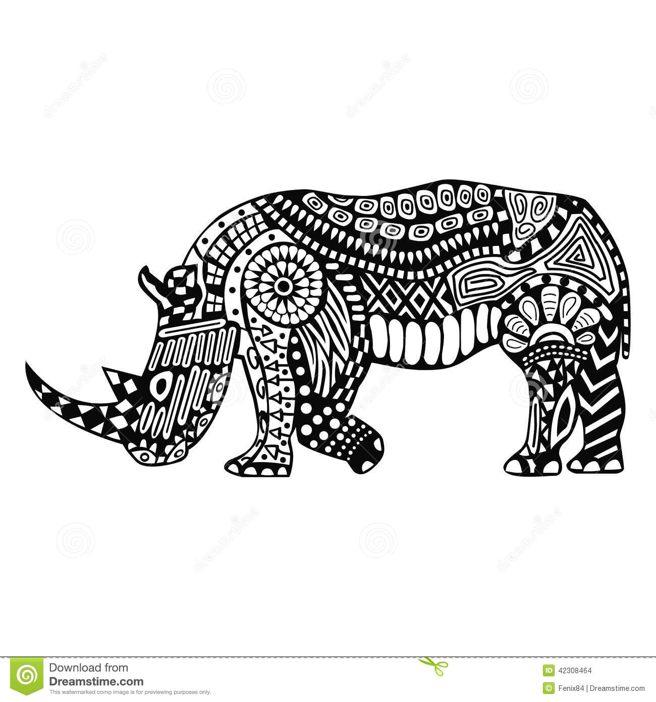 Black Rhino With Patterns On Body Stock Vector