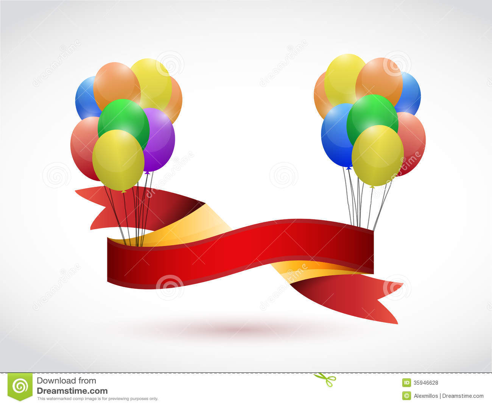 Black ribbon and balloons illustration design over a white background.