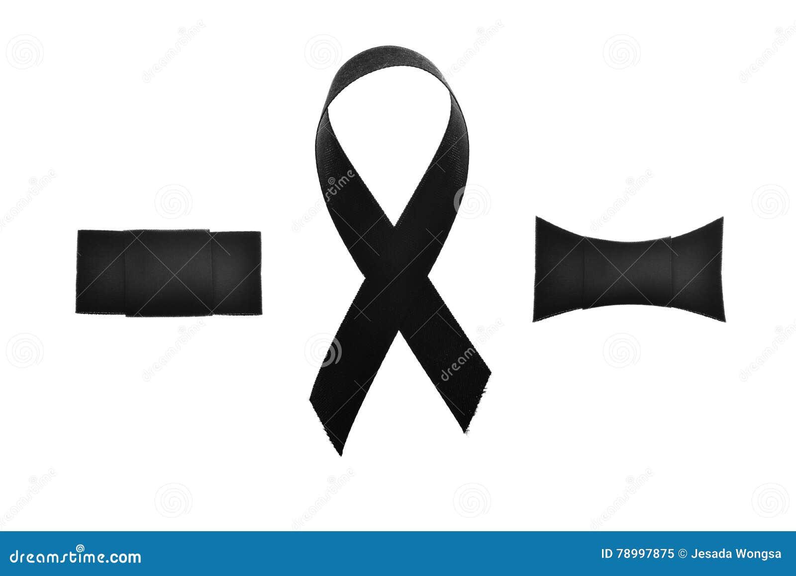 Black Ribbonmelanoma Awareness Or Symbol Mourning Isolate On White