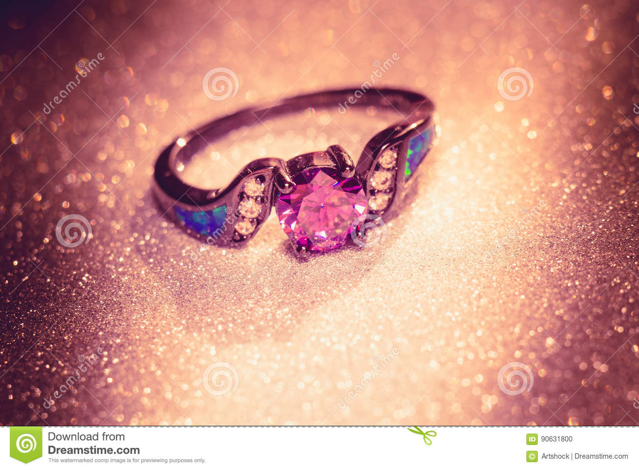 Black Ring with Amethyst stock photo. Image of glamour - 90631800