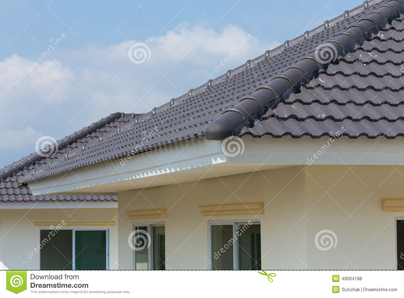 Black Roof Tiles On House Stock Photo Image Of Black