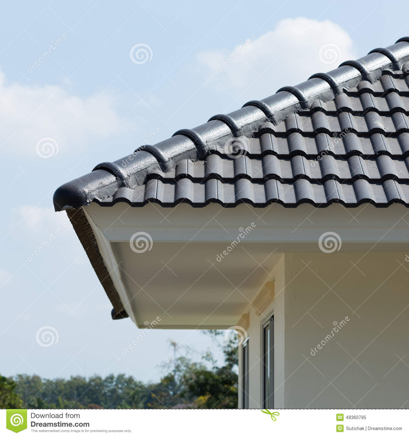 Black roof tiles on house stock photo image 49360795 - Houses with ceramic tile roofing ...