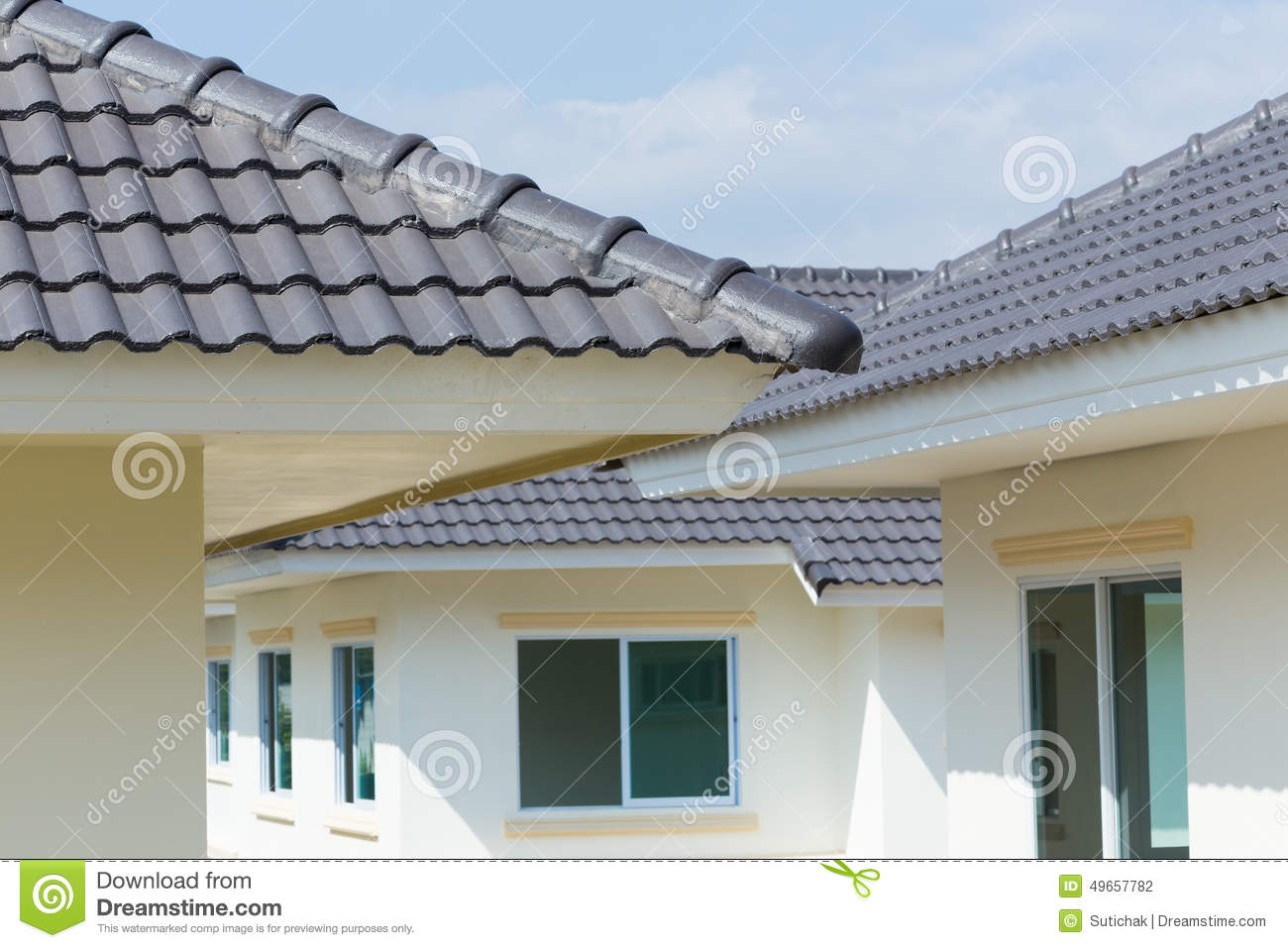 Black roof tiles on house stock photo image of for Black roof house