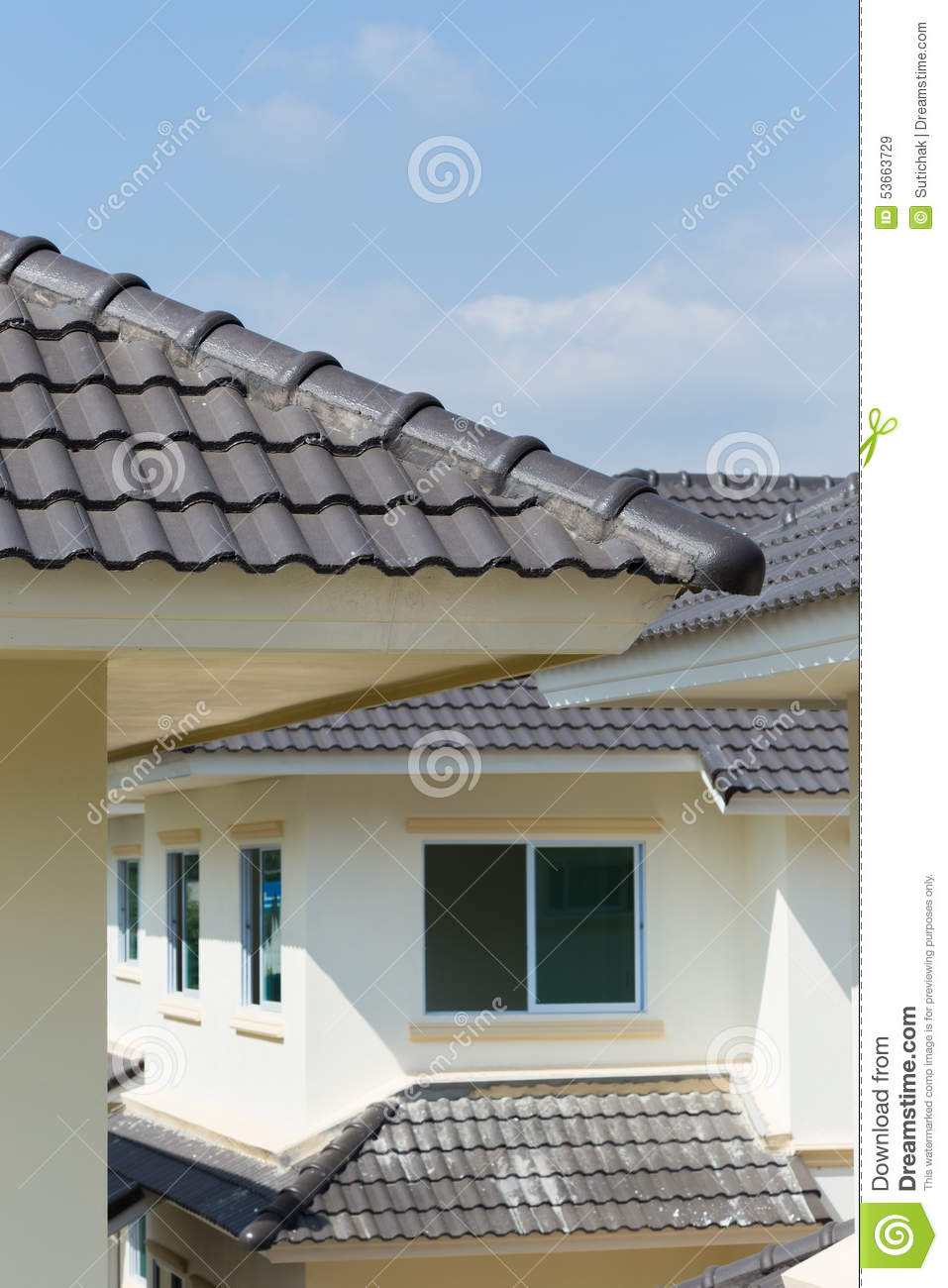 Black roof tiles on house stock image image of industry for Black roof house