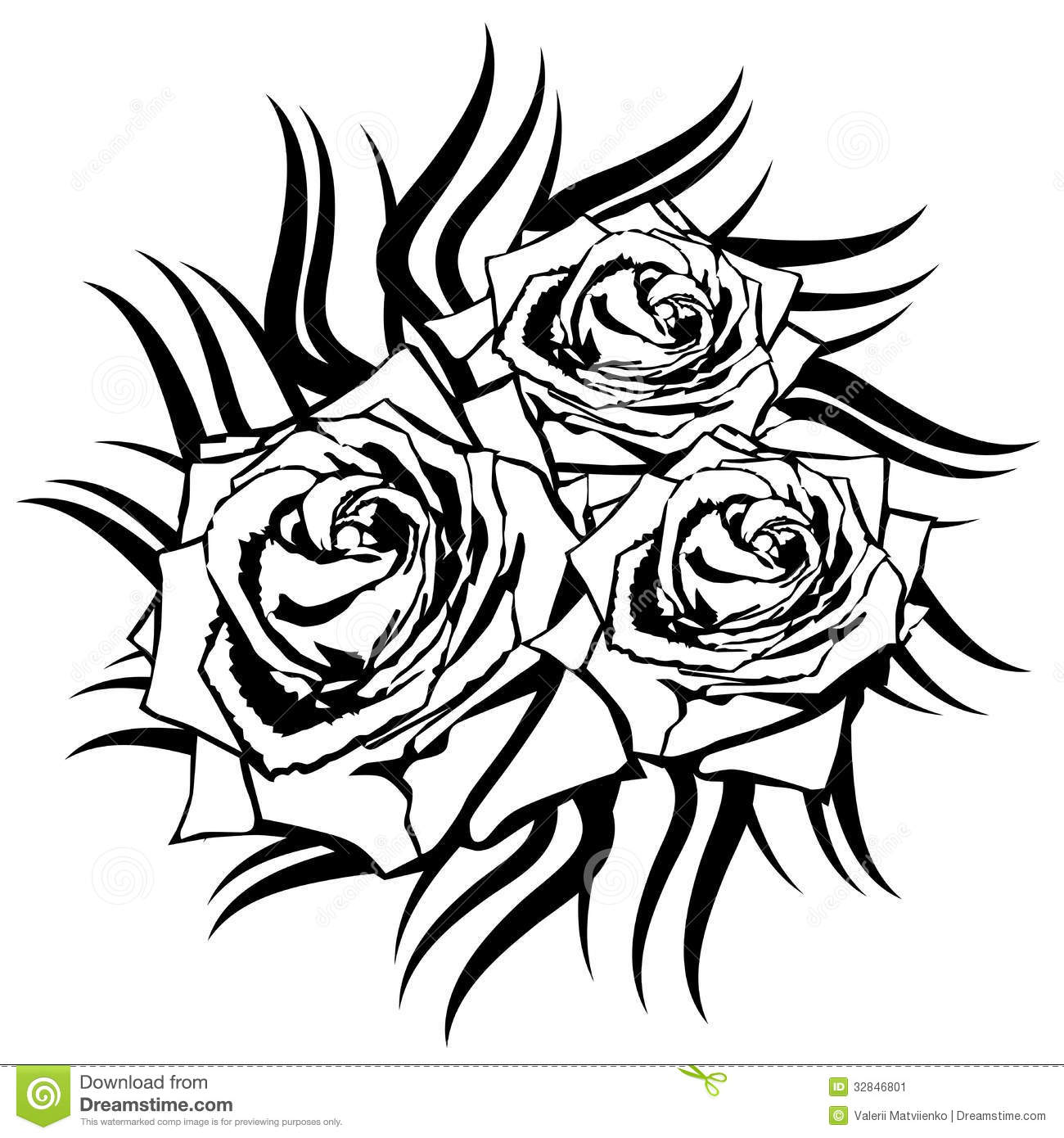 Tattoo Designs White Background: Black Rose On White Background. Stock Vector