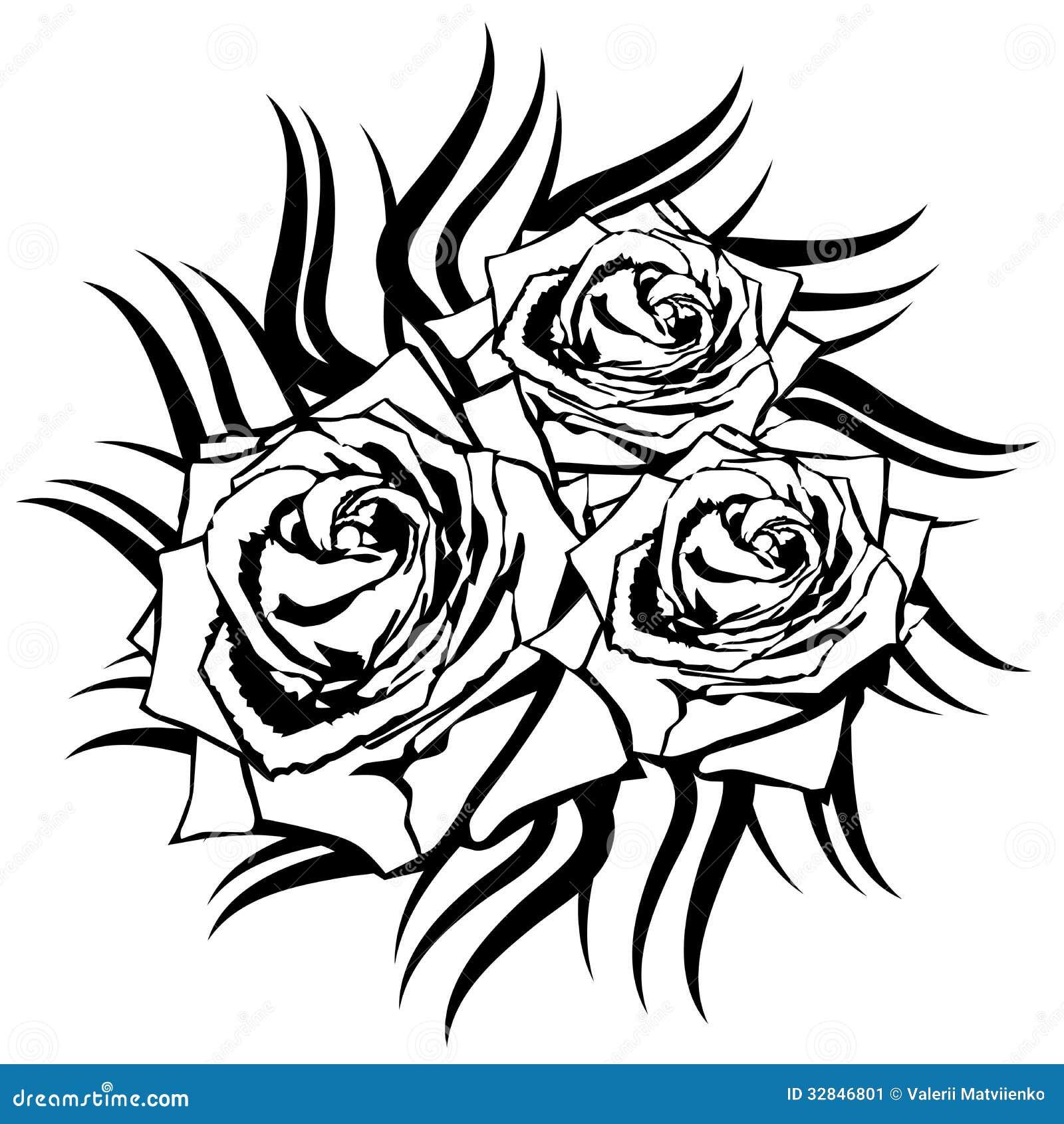 Black Rose On White Background. Stock Vector