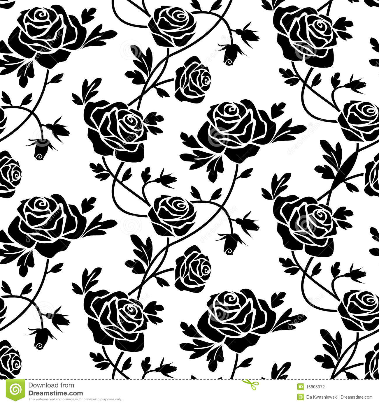 Romantic roses seamless pattern, black flowers at white background ...