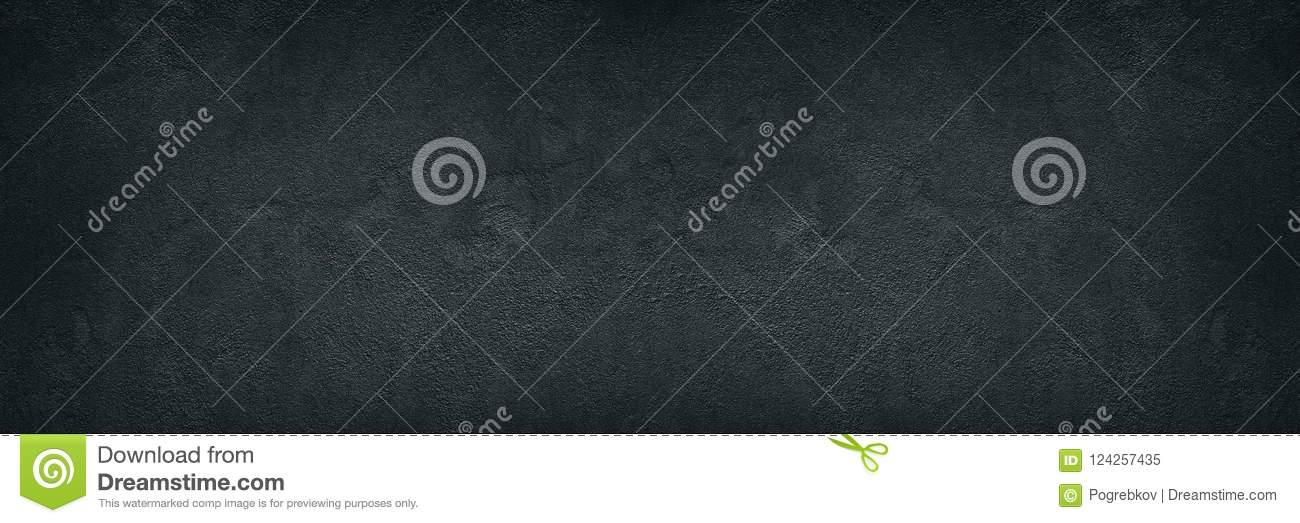 Black rough concrete wall wide texture - dark grunge background