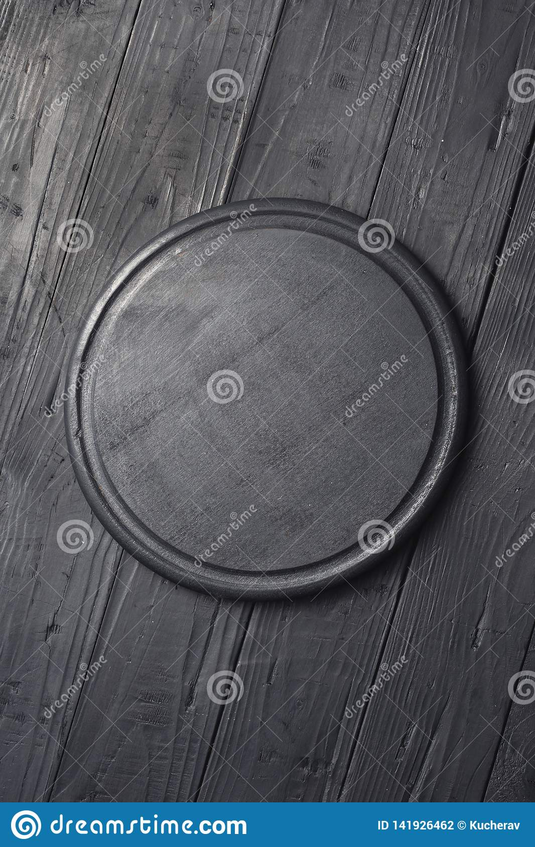 Black Round Cutting Board Dark Background Top View Stock Photo Image Of Copy Board 141926462
