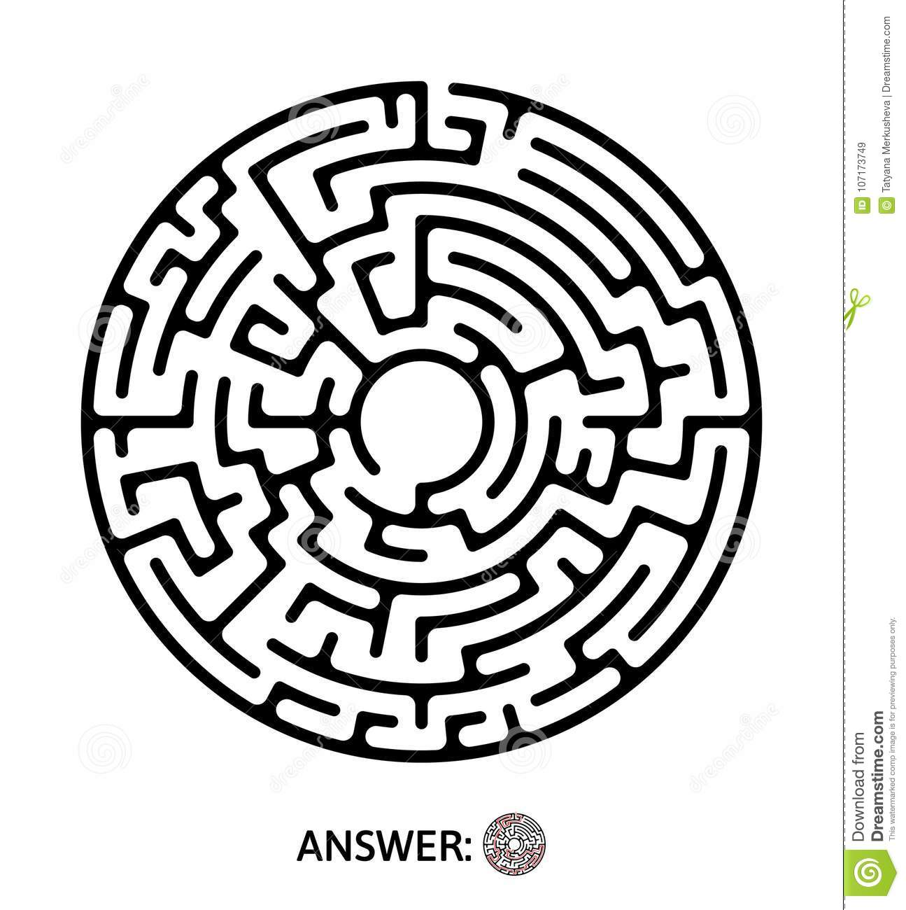 Black Round Maze Puzzle Game Vector Labyrinth Illustration Stock