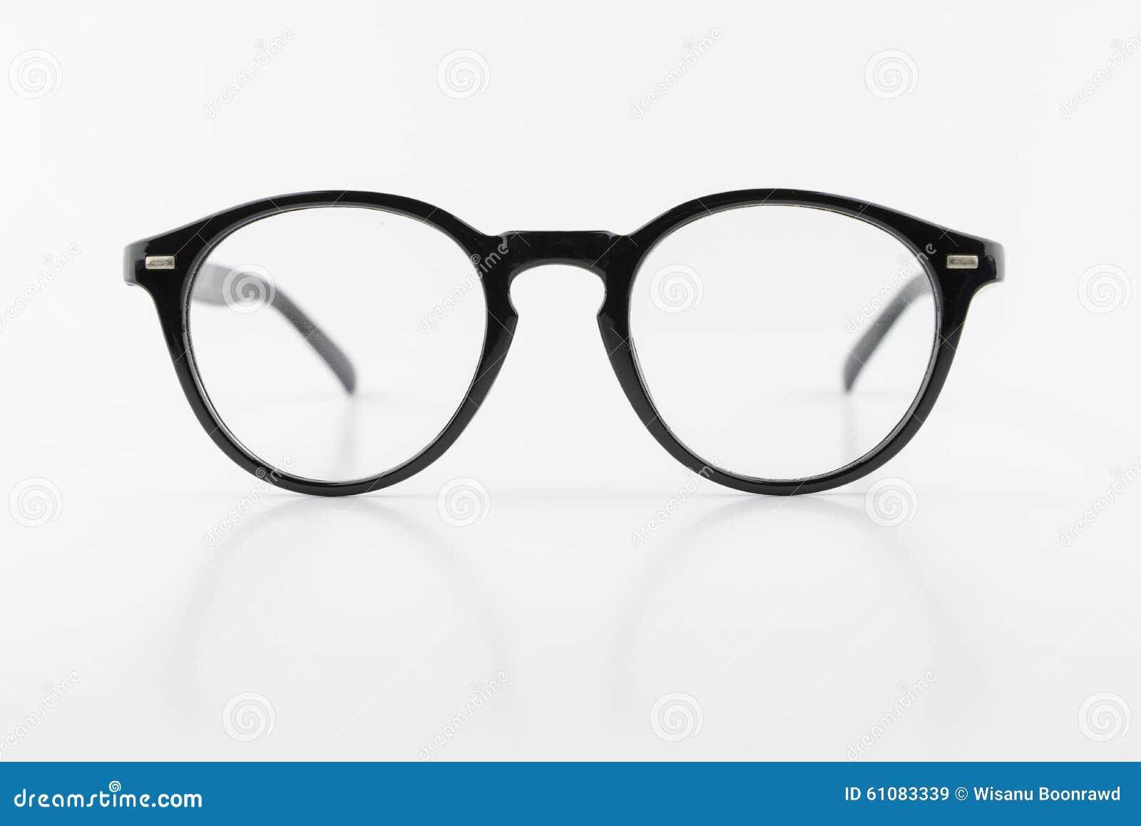 Black Round Shape Eyeglasses Vintage Style Isolated