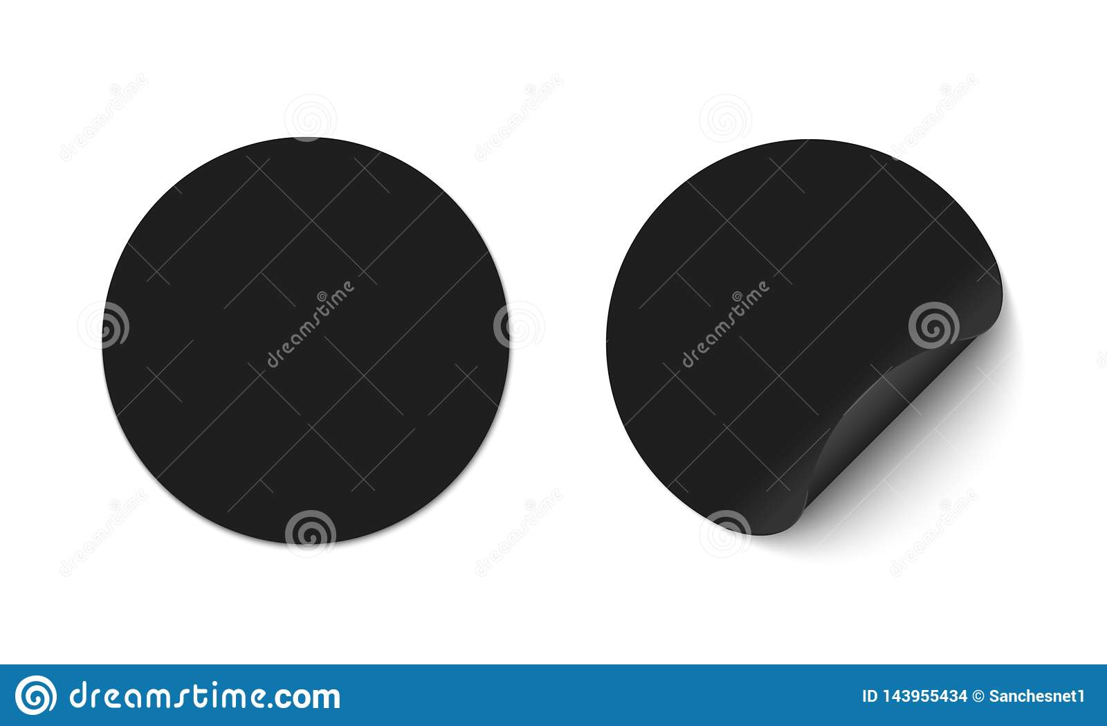 Black round stickers stock vector  Illustration of banner