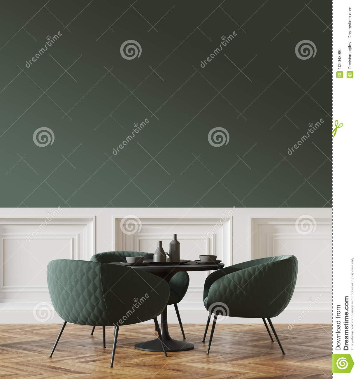 Black Round Table In A Green And White Cafe Stock Illustration - Standing cafe table