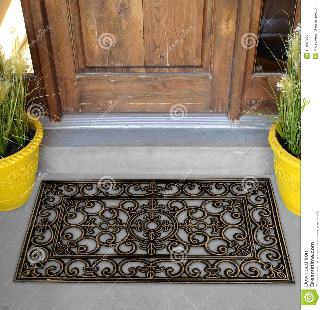 Black Rubber Scraper Floor Mat Indoor Outdoor Door Mat Outside Home With  Yellow Flowers And Leaves