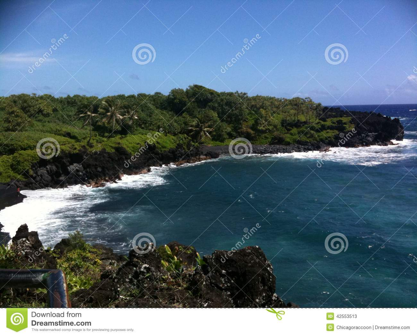 Black sand beach cliffside