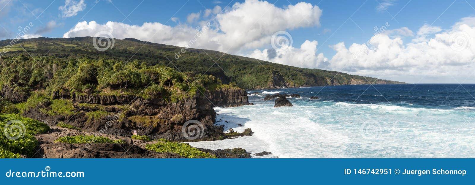 Black sand beack on Maui