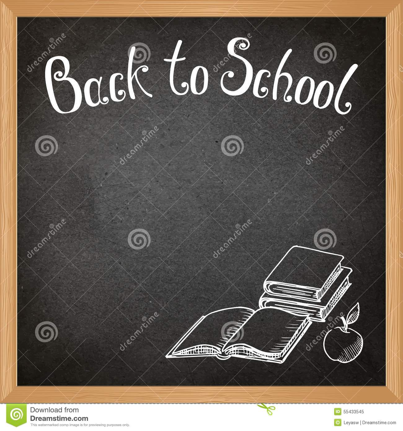 Black School Blackboard With Chalk-drawn School Objects ...
