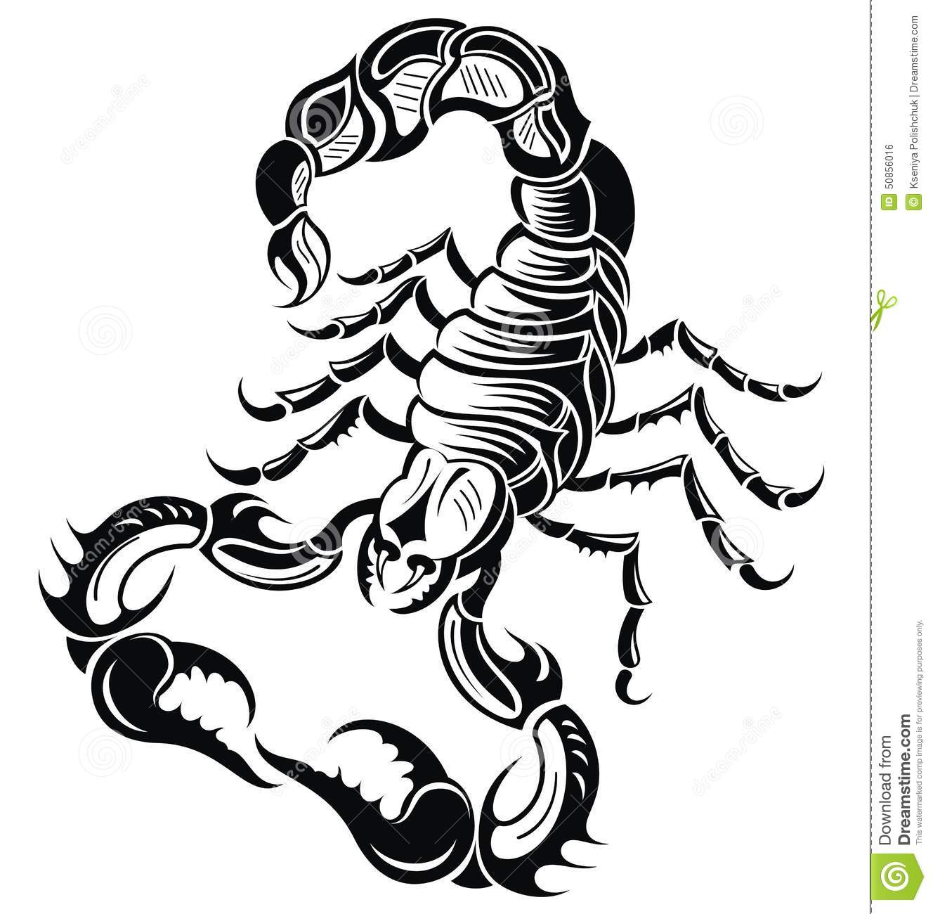 Black scorpion stock vector illustration of silhouette for Black and white tattoo artists