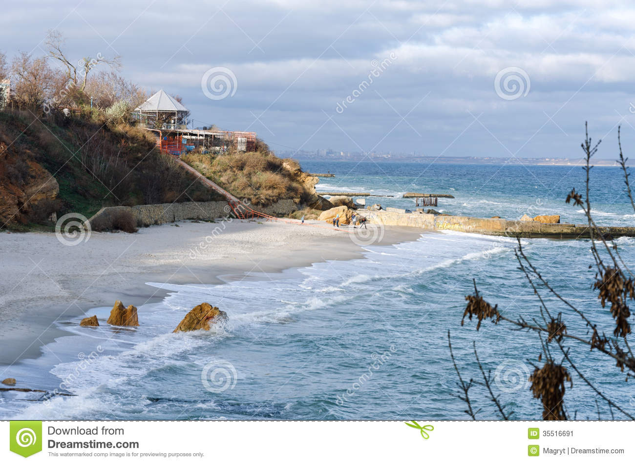 Black Sea beach in Odessa stock image  Image of rock - 35516691