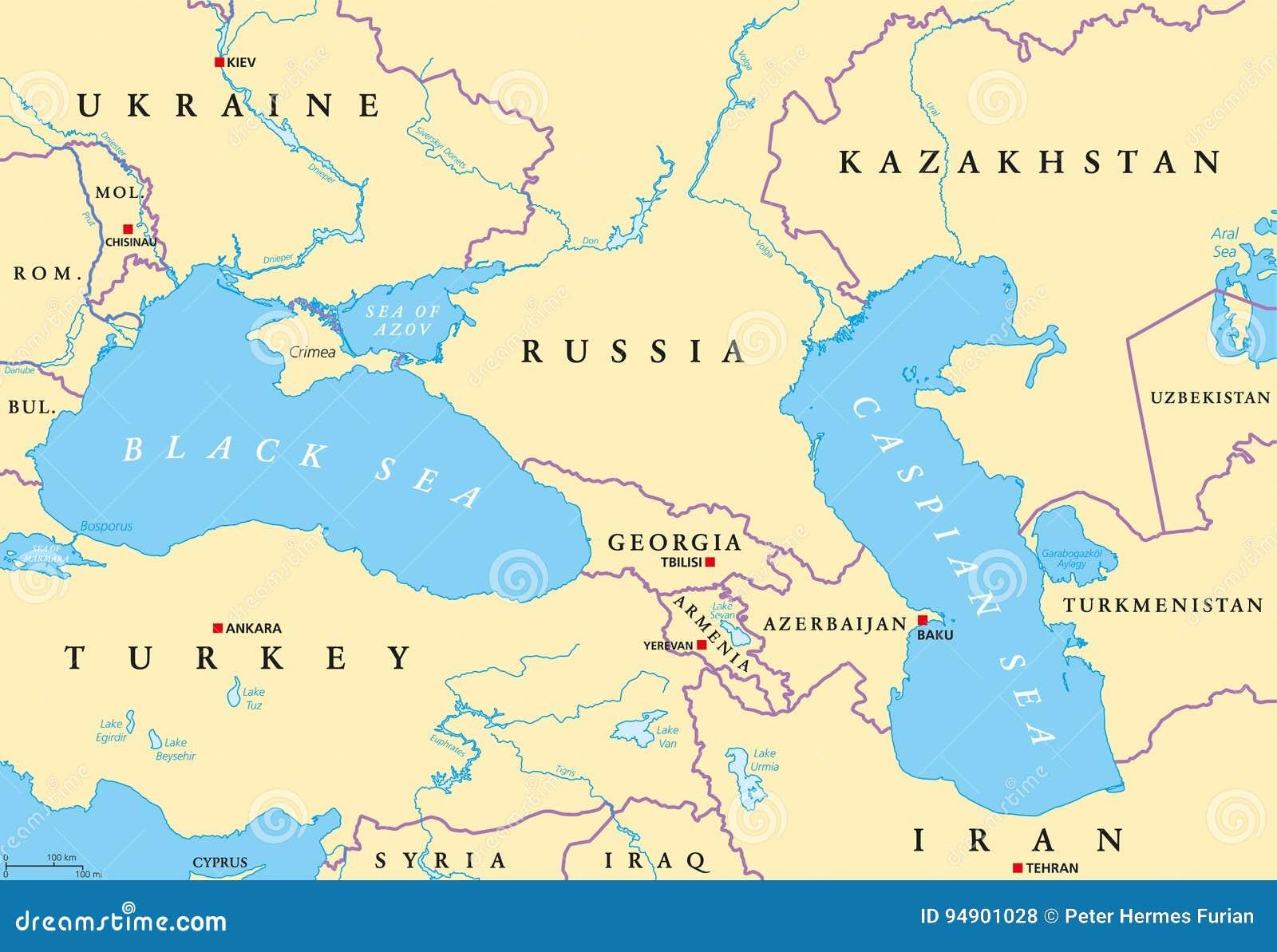 Black Sea And Caspian Sea Region Political Map Stock Vector