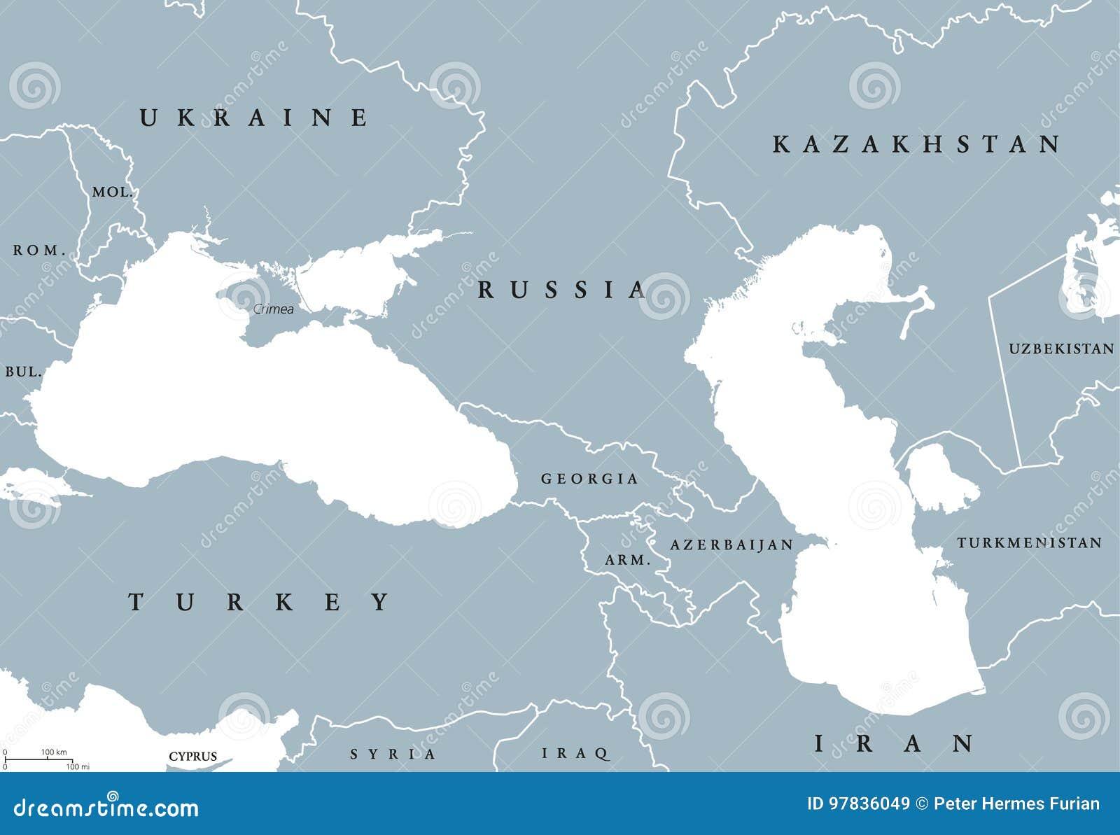 Black Sea And Caspian Sea Region Political Map Stock Vector ...
