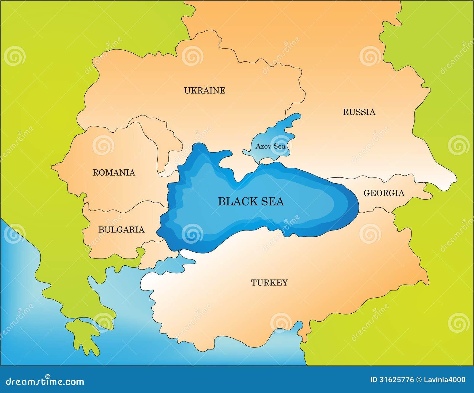Black Sea Countries Map Stock Vector Image Of Boundaries
