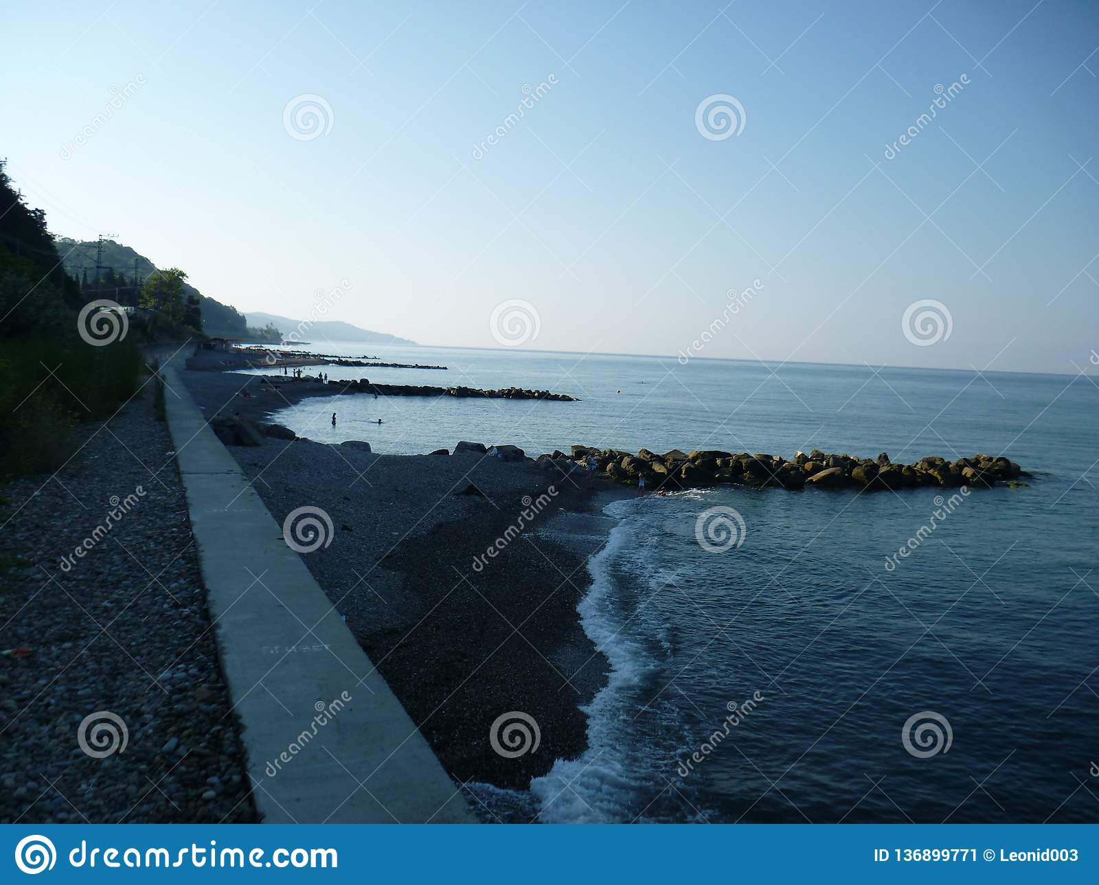 Morning landscape of the beach Vardane in Sochi.Russia.