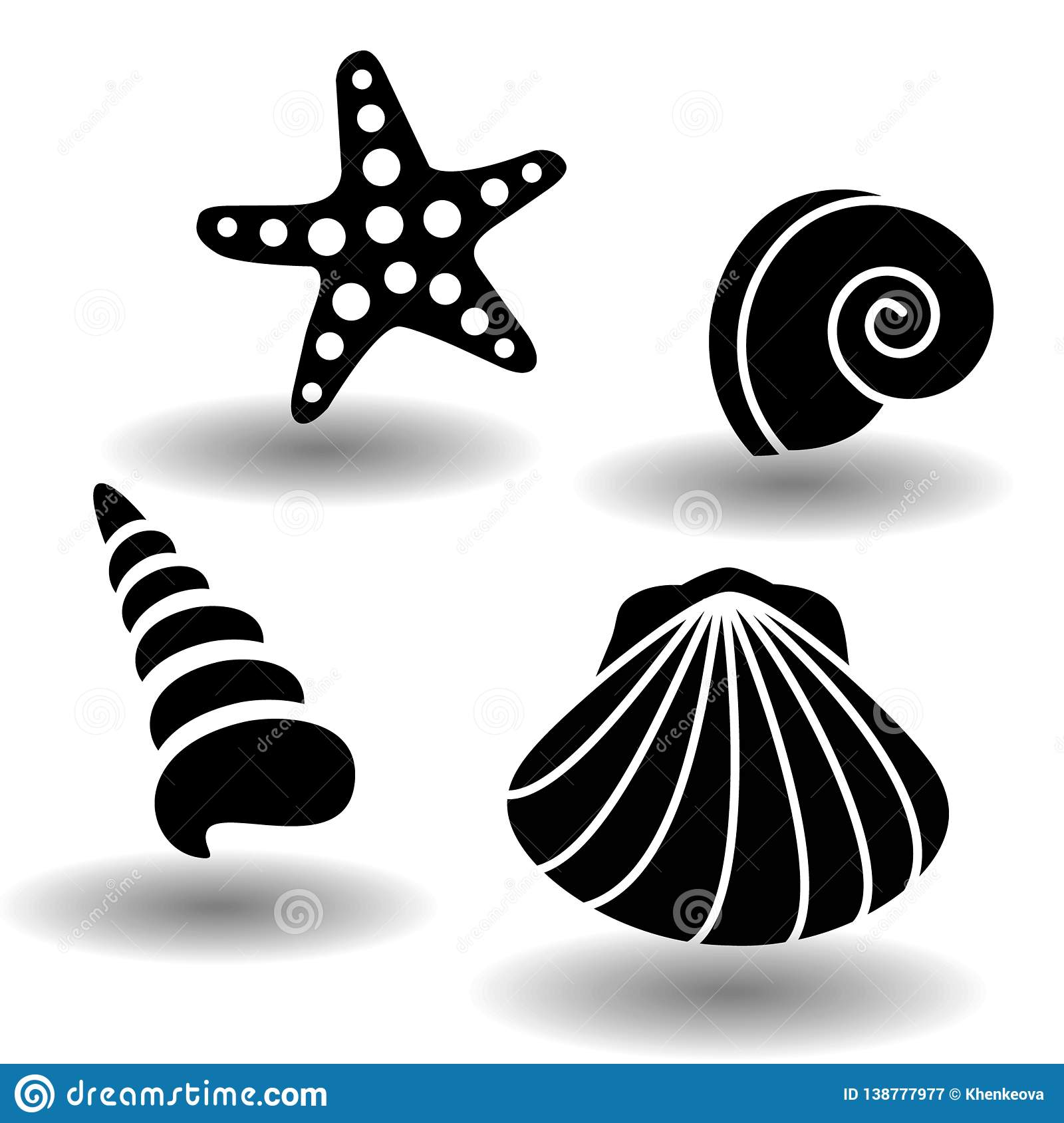 Black sea shells icon set, collection of seashell, clam, nautilus snail, spiral shell and starfish. Vector eps10