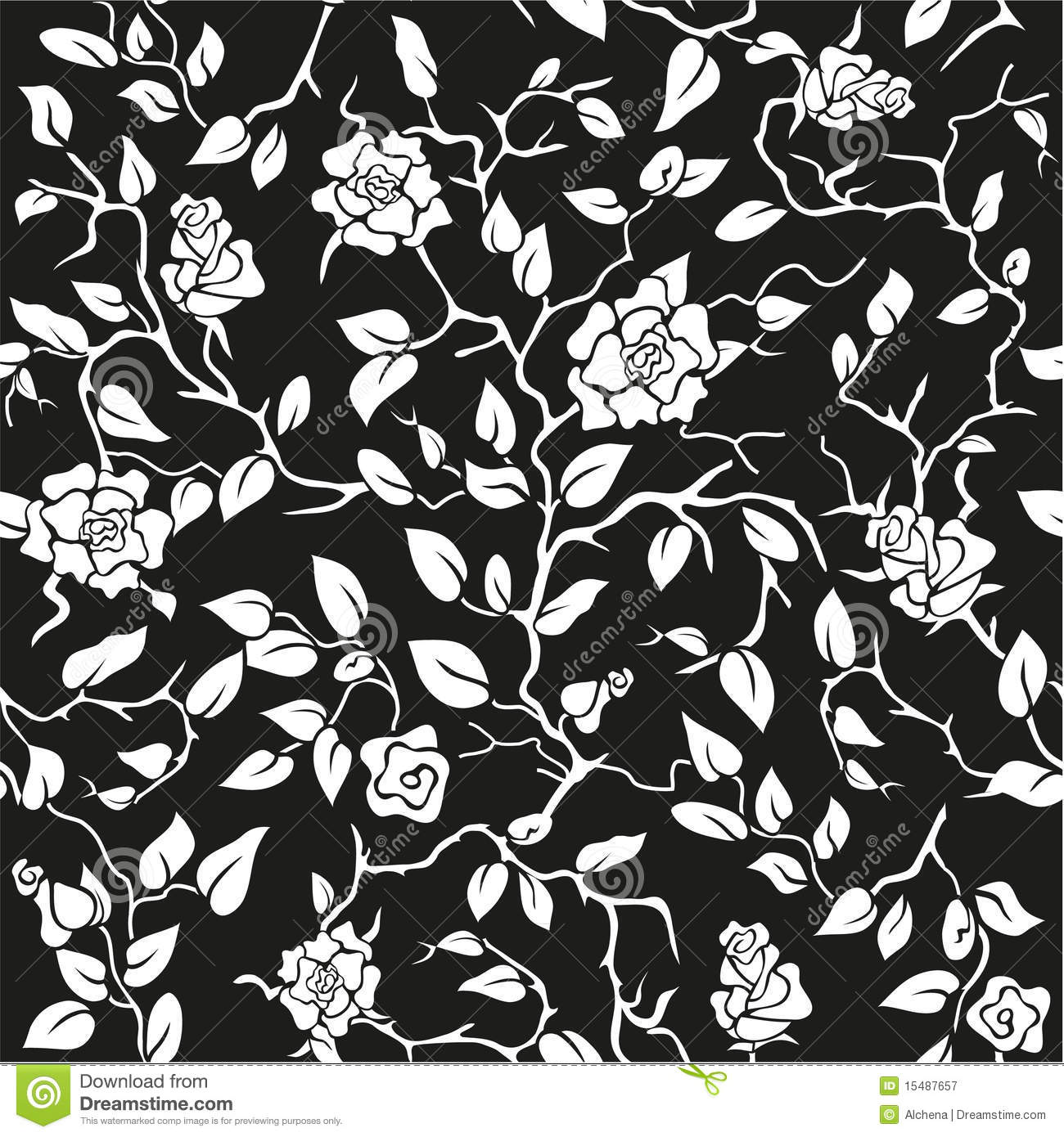 Black Seamless Background With White Roses Stock Vector