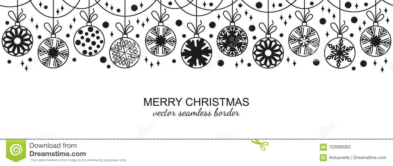 Christmas Border Black And White.Black Seamless Snowflake Border White Background Stock