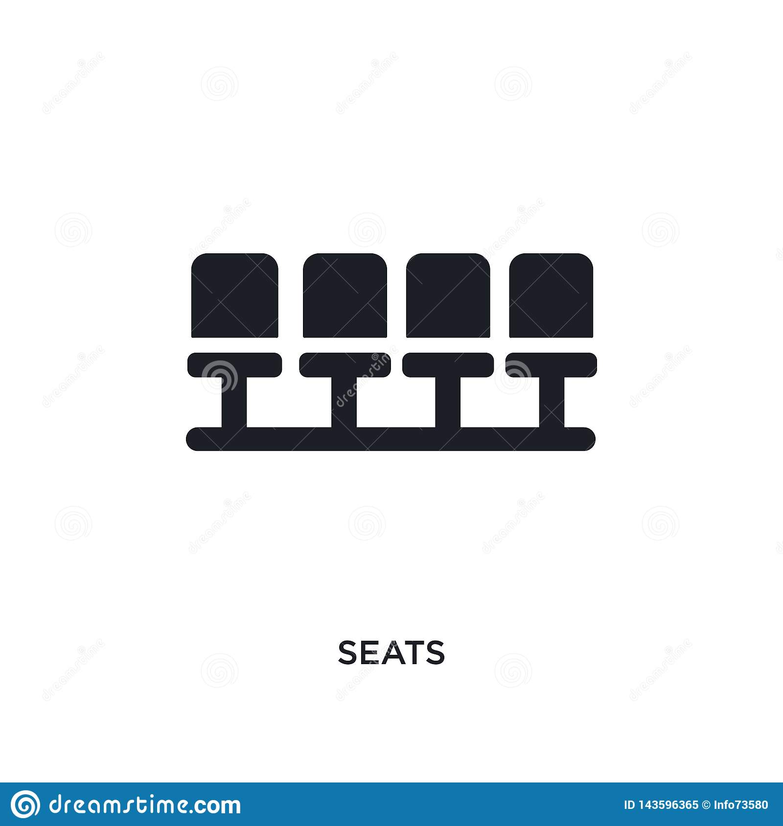 black seats isolated vector icon. simple element illustration from football concept vector icons. seats editable black logo symbol