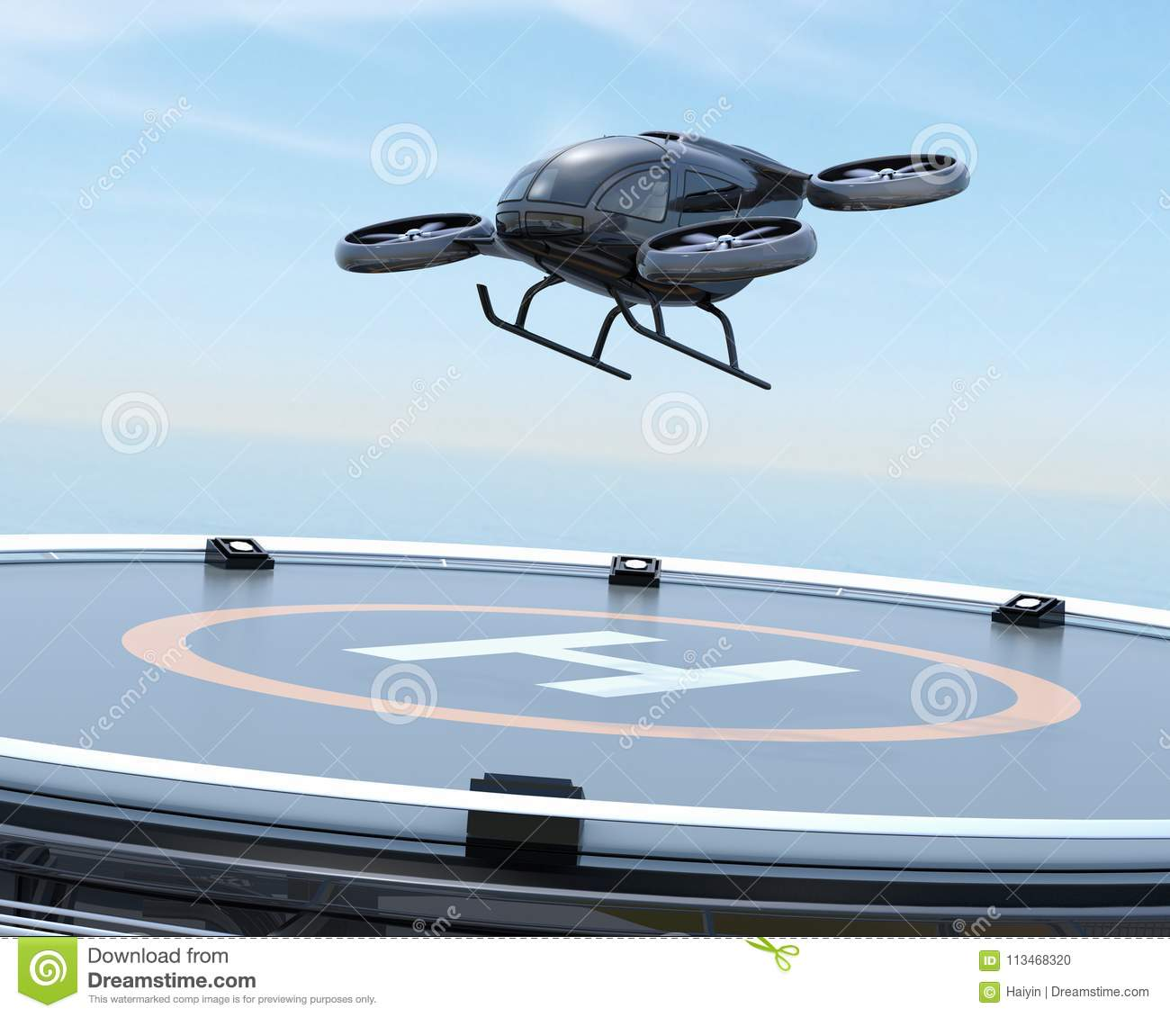 Black self-driving passenger drone takeoff from helipad