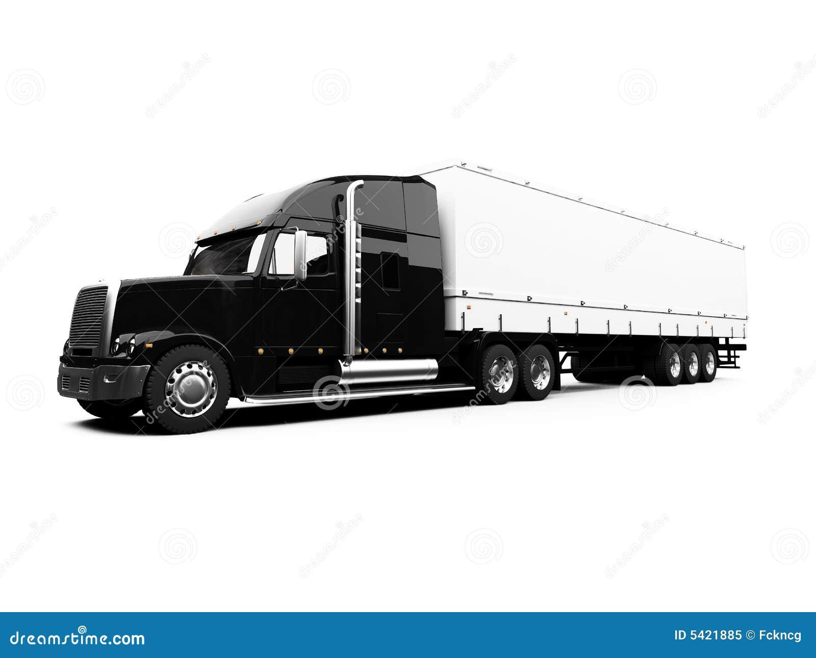 Semi Truck Black And White Black Semi Truck