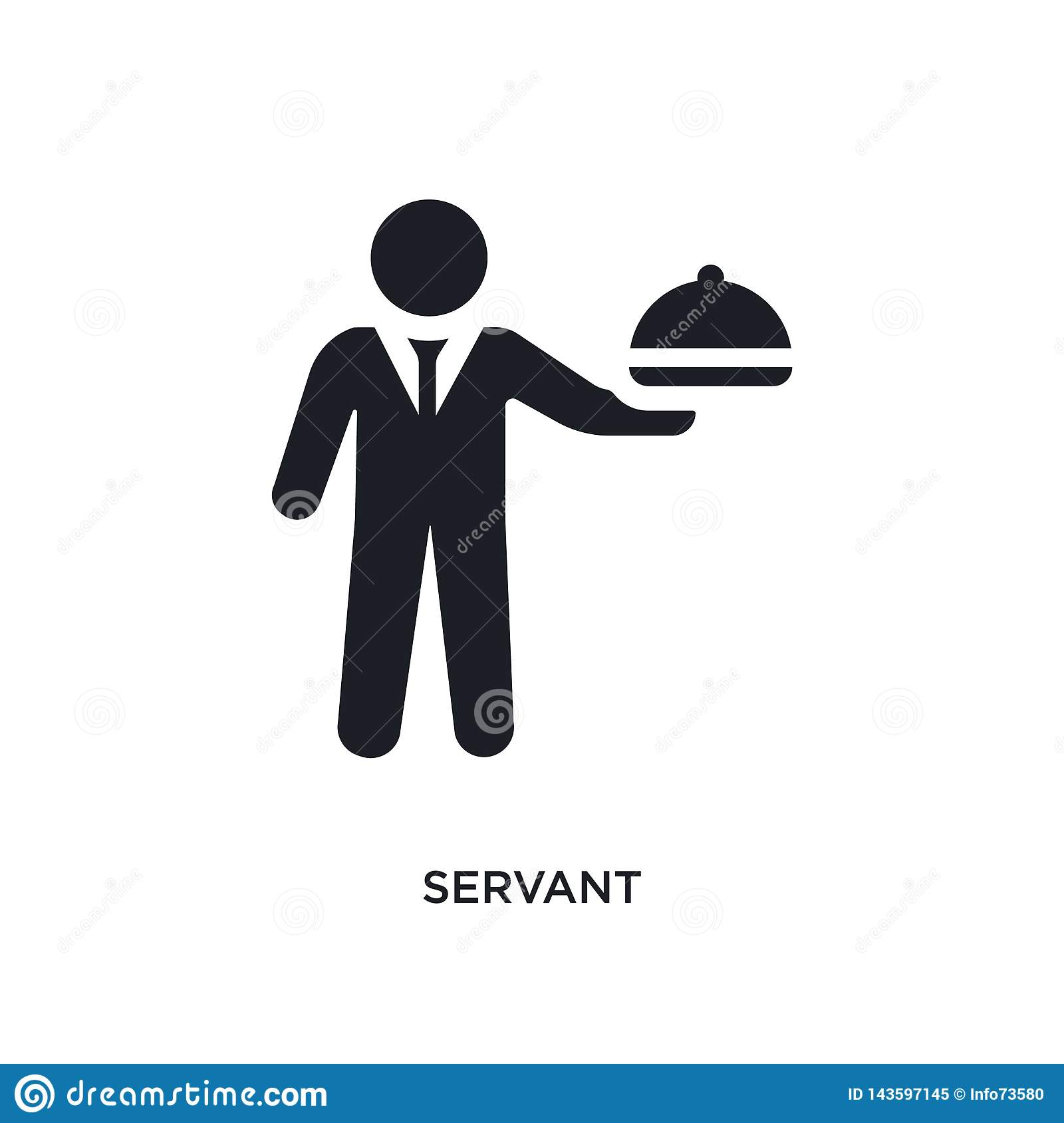 black servant isolated vector icon. simple element illustration from hotel and restaurant concept vector icons. servant editable