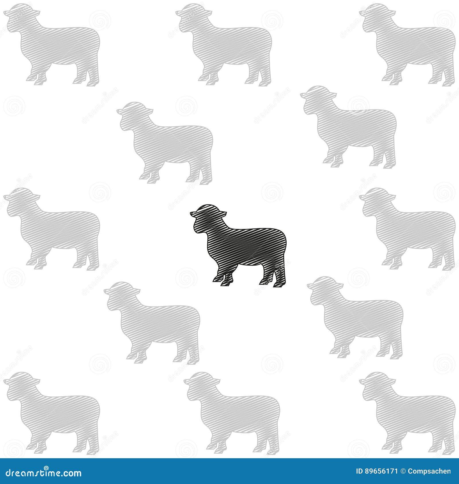 Black Sheep, Sheep Herd, Animals Stock Vector - Illustration